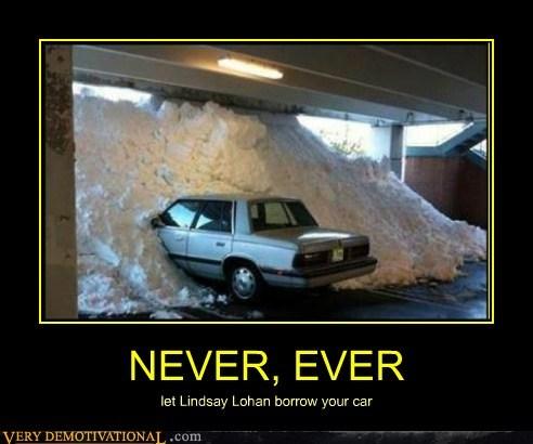 car coke hilarious lindsay lohan snow - 6195698432