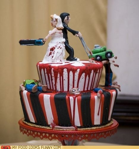 Blood cake fondant gory lawnmower wedding zombie