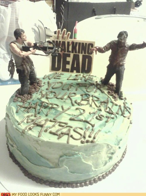 action figures,cake,frosting,The Walking Dead,zombie