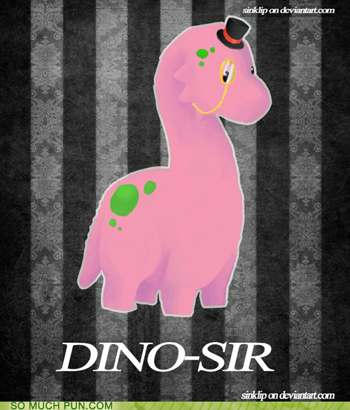 dinosaur Hall of Fame literalism monocle similar sounding sir suffix top hat - 6197834240