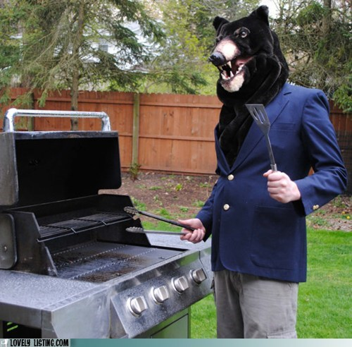 bear,bear grylls,cliché,double meaning,grill,grilling,grills,literalism
