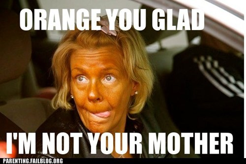 mother,orange,tanning mom