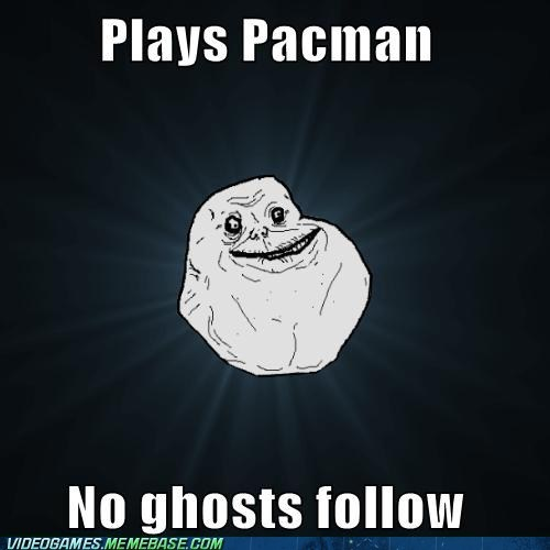 forever alone,fruit,ghosts,meme,pacman