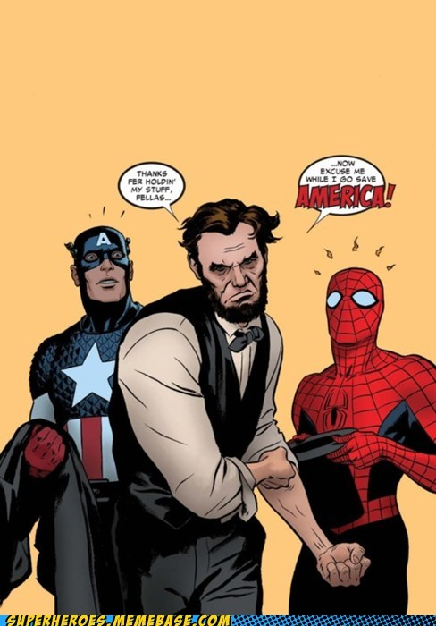 Abe Lincoln,captain america,Spider-Man,Straight off the Page,wtf