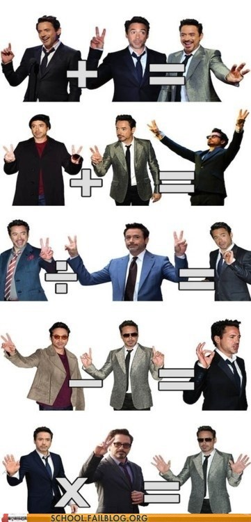 fingers g rated Hall of Fame iron man robert downey jr School of FAIL teaching math - 6201967104