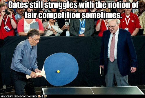 Bill Gates,microsoft,ping pong,political pictures,warren buffett