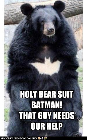 HOLY BEAR SUIT BATMAN! THAT GUY NEEDS OUR HELP