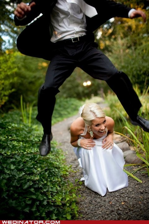 bride,funny wedding photos,groom,leapfrog