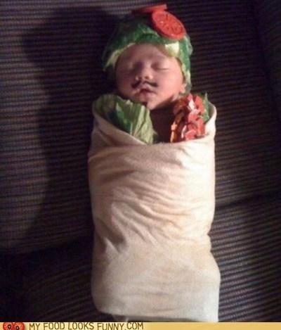 baby,burrito,costume,lettuce,salsa,tomatoes,tortilla
