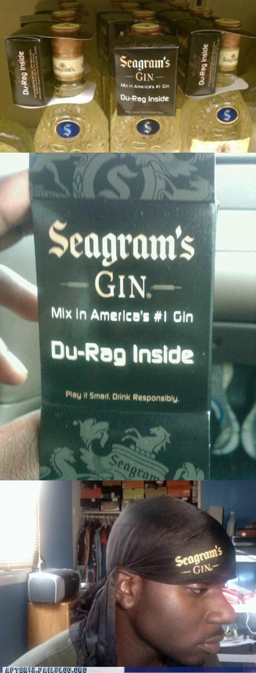 doorag doo-rag du rag gin seagrams - 6202349824