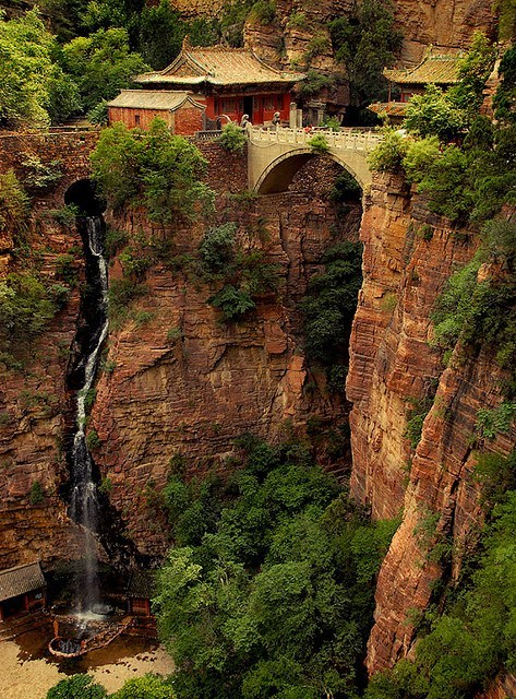 bridge,china-cliff,waterfall
