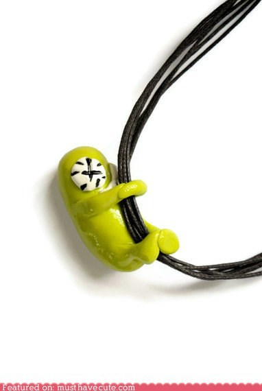 clay little green guy monster necklace pendant - 6202358272