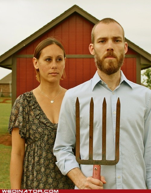american gothic,farm,funny wedding photos,pitchfork,Wedding Announcement