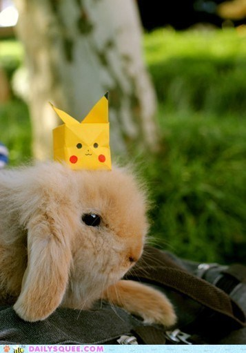 bunnies,bunny,happy bunday,hat,hats,origami,paper,pikachu,Pokémon,squee