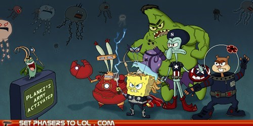 avengers,Black Widow,hulk,loki,mashup,plankton,SpongeBob SquarePants,squidward