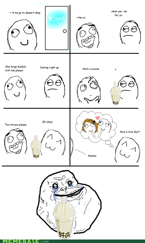 bubble tea forever alone Rage Comics straws - 6202513920