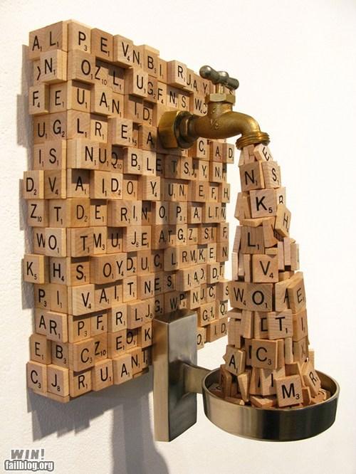 art,faucet,nerdgasm,scrabble,sculpture