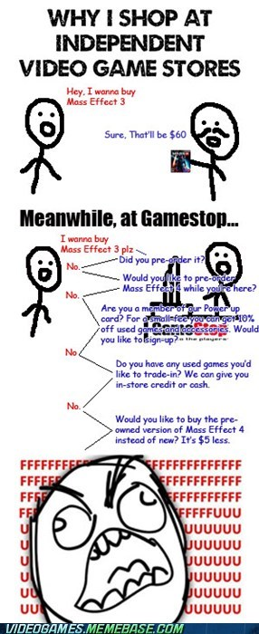 annoying,game stores,gamestop,IRL,rage comic,shut up