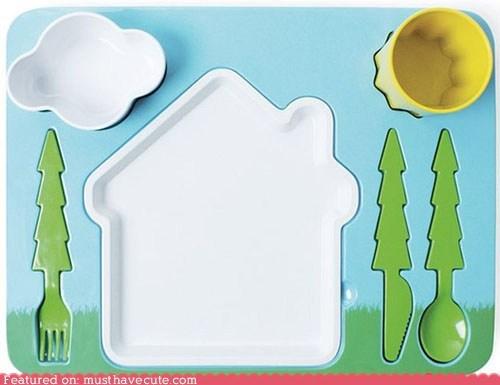 bowl cloud cup flatware house landscape plate platter sun trees - 6203211264