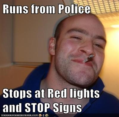 Runs from Police Stops at Red lights and STOP Signs