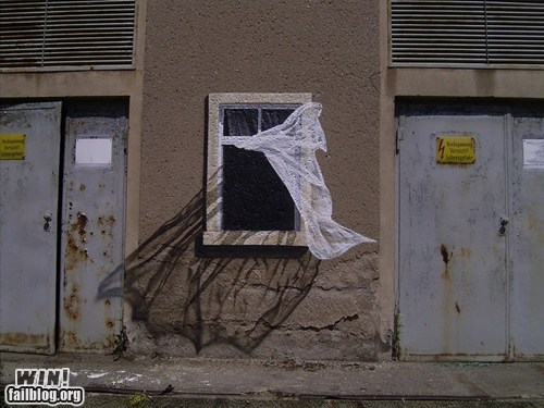 hacked irl illusion painting Street Art window