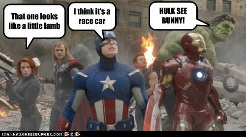 avengers Black Widow bunny chris evans chris hemsworth clouds distracted hulk race car scarlett johansson steve rogers - 6203491584