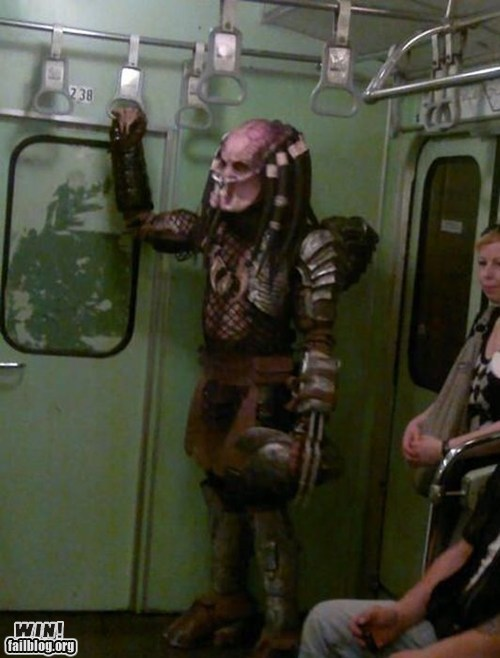 costume,nerdgasm,Predator,sci fi,Subway,transportation