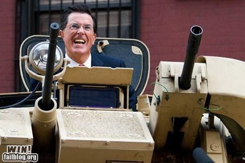 celeb,military,stephen colbert,tank,whee