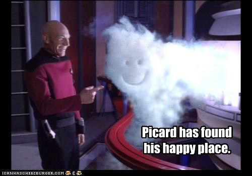 Captain Picard,found,gas,happy place,laughing,patrick stewart,smile,smoke,Star Trek