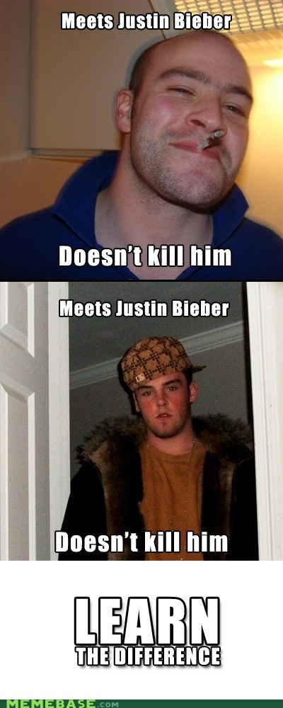 Death difference Good Guy Greg justin bieber Scumbag Steve - 6205176576