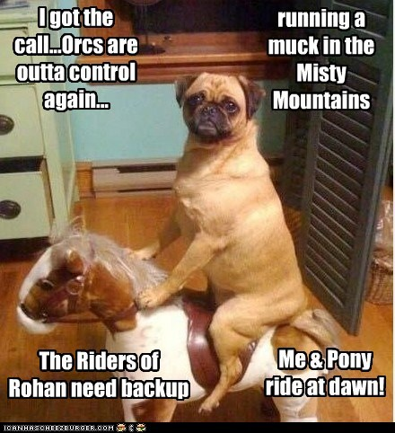I got the call...Orcs are outta control again... running a muck in the Misty Mountains The Riders of Rohan need backup Me & Pony ride at dawn!