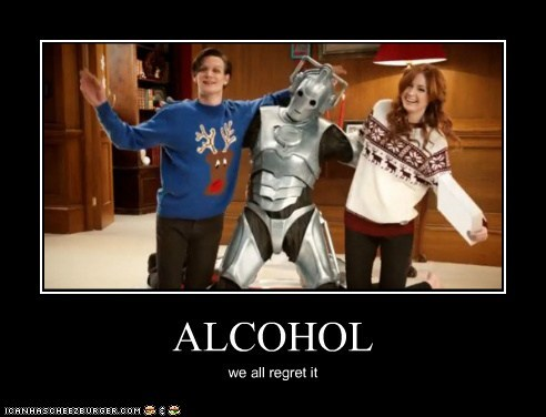 alcohol,amy pond,christmas,cyberman,dancing,karen gillan,Matt Smith,regret,the doctor