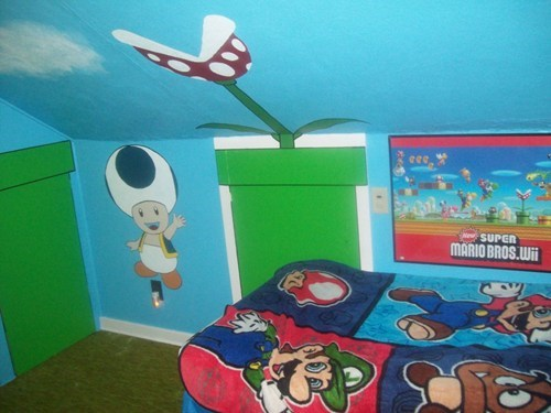 bedroom,playroom,Super Mario bros,video games