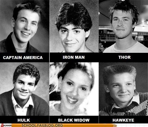 g rated Hall of Fame high school mullet School of FAIL superheroes The Avengers yearbook