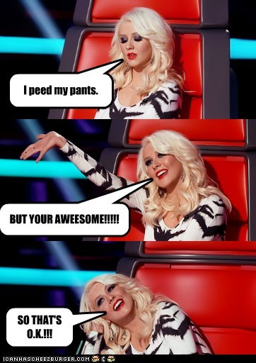 awesome,christina aguilera,pee,the voice