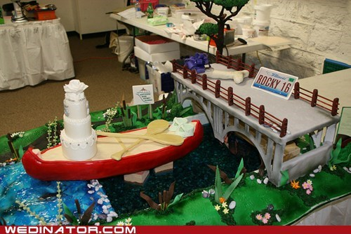 bridges,cakes,canoes,funny wedding photos,rivers,wedding cakes