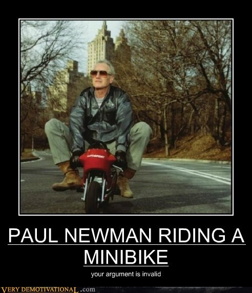 argument,hilarious,minibike,Paul Newman