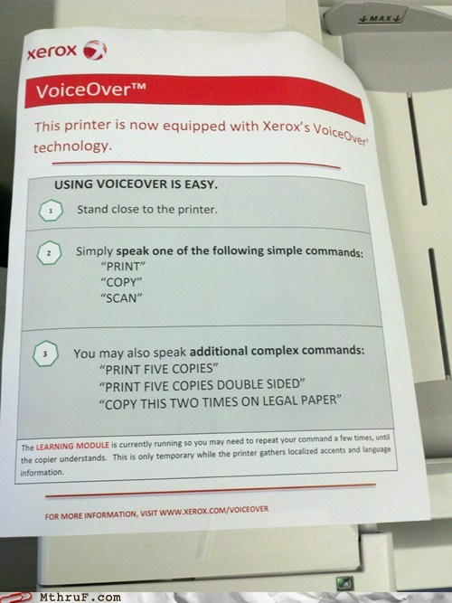 printer,voice activated,voice activated technolog,voiceover,xerox