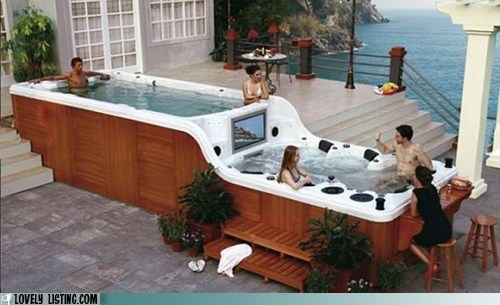 deck hot tub pool rich TV