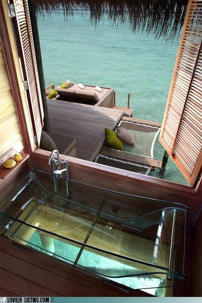 bathroom bathtub dock ocean pier Tropical window - 6206562560