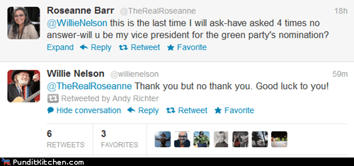 election 2012,green party,political pictures,rosanne barr,twitter,willie nelson