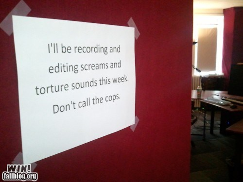 cops,editing,not what it looks like,sign,sound engineer,weird,work