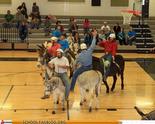 donkeys,pep rally,school gym