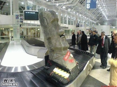 airport,baggage,easter island head,moai