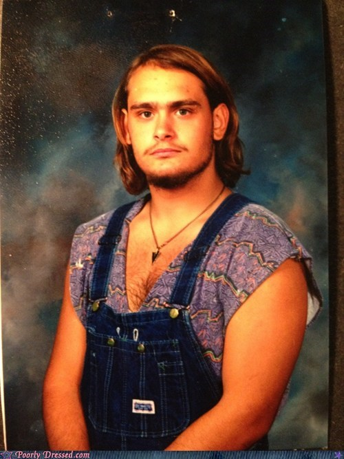 90s hair overalls School Portrait shirt what - 6207032064