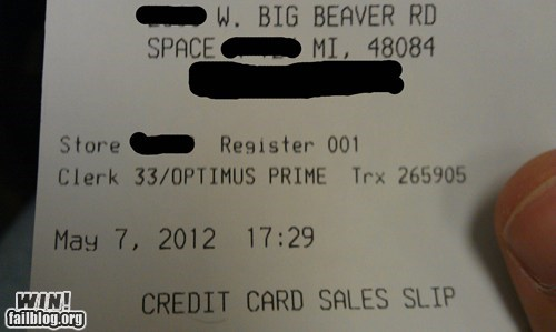 nerdgasm,optimus prime,restaurant,server