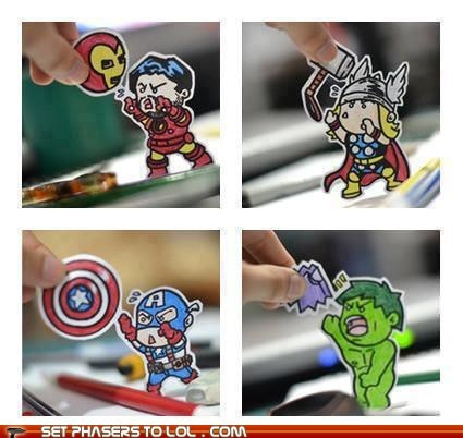 avengers,best of the week,cute,Fan Art,hulk,iron man,mjolnir,pants,shield,take away,tiny,tony stark