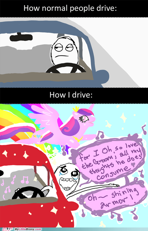 amazing,driving,rage comic,Rage Comics,shining armor