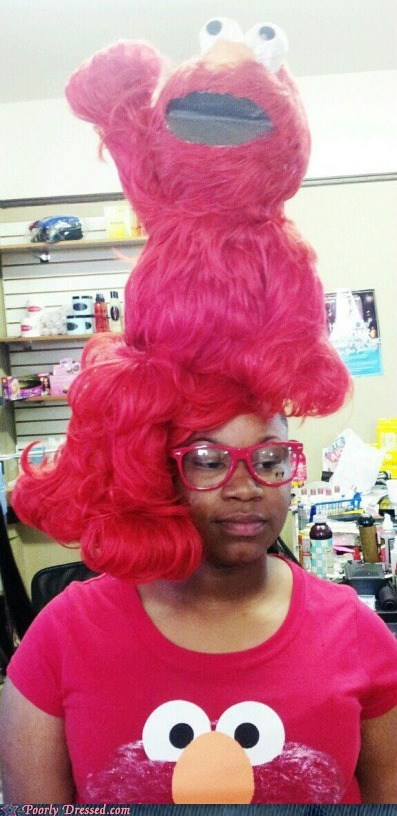 elmo,g rated,poorly dressed,Sesame Street,weave,what,wig