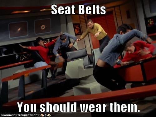 Captain Kirk,crash,falling,Leonard Nimoy,Nichelle Nichols,seat belts,Shatnerday,Spock,Star Trek,thrown,uhura,wearing,William Shatner